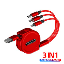 цена на 3 in 1 Retractable Micro USB Type C Charging Cable For Samsung For iPhone X XS Max USB Data Sync Cable For Huawei Charger Cable