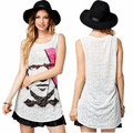 Novelty summer women vest European and American style medium long printing sleeveless shirts ladies hollow sexy cotton vest tops
