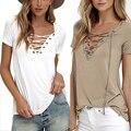 EMIR ROFFER 2017 Verão Europeu Moda Lace Up T Shirt Mulheres Sexy V Neck Oco Out Top Casual Feminina Básica T-shirt Plus Size tamanho