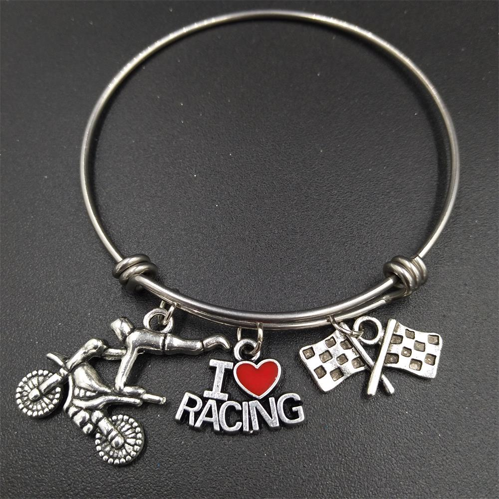 64mm Diameter High Polished Stainless Steel Adjule Wire Bangle Motorcycle Motocross Charms I Love Racing Bracelets Women In Bangles From Jewelry