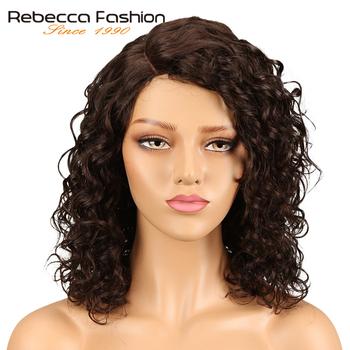 Rebecca luźne kręcone fala ludzkich włosów koronki peruki dla czarnych kobiet L część peruwiański Remy luźne kręcone koronki peruka 14 Cal darmowa wysyłka tanie i dobre opinie Średnia wielkość Średni brąz Peruwiański włosów Ciemniejszy kolor tylko Sassy Curl Remy włosy Rebecca fashion Swiss koronki