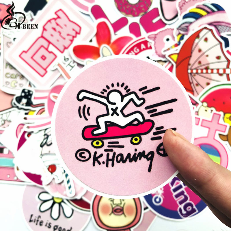 50PCS Kawaii Vsco Girl Pink Stickers Unicorn Cute Stickers Laptop Suitcase Skateboard Sticker Pack Waterproof Hydro