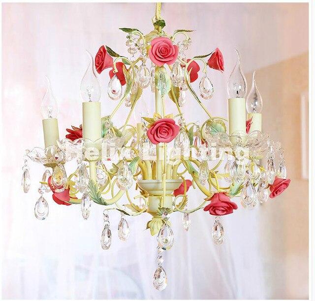 Neu Art deco Floral Kronleuchter lampe Lustre Licht 5L/8L Rosa Rose ...