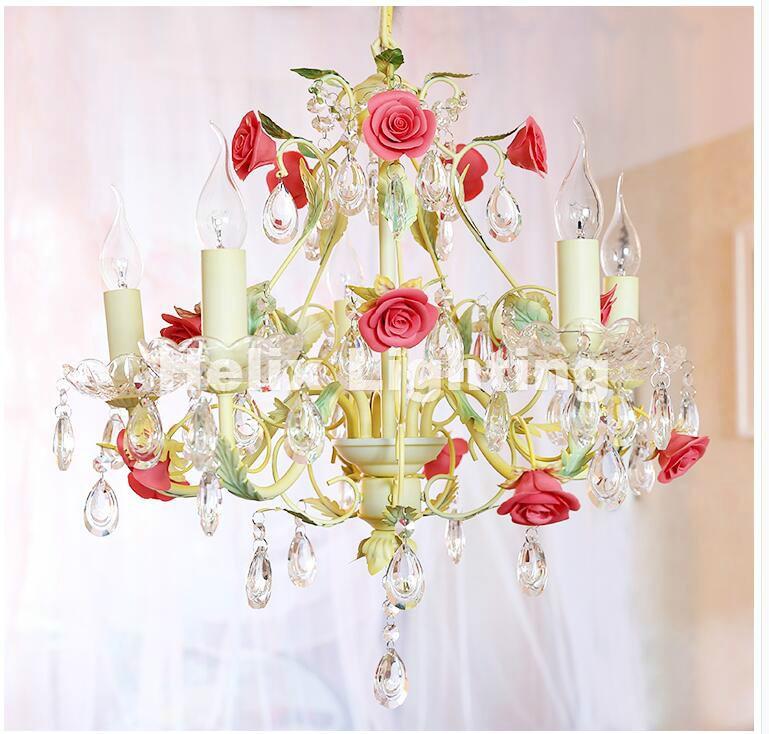 Newly Art deco Floral Chandelier lamp <font><b>Lustre</b></font> Light 5L/8L Pink Rose Flower Chandelier Light Fixture E14 <font><b>LED</b></font> Decoration Chandelier