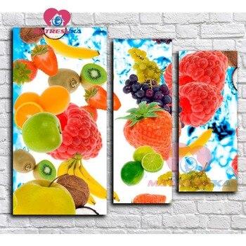 Diamond embroidery fruit 5D diamond mosaic Pictures of rhinestones Cross-stitch kits 5d diy diamond painting triptych home decor