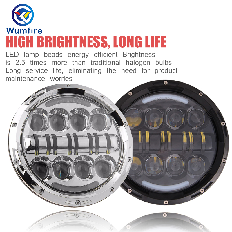 Motorcycle 7&#8243; Round DOT Motorcycle <font><b>LED</b></font> Headlight <font><b>Off</b></font> <font><b>Road</b></font> Motorcyle 7&#8243; <font><b>Led</b></font> Headlights For Harley Motorcycle Accessories