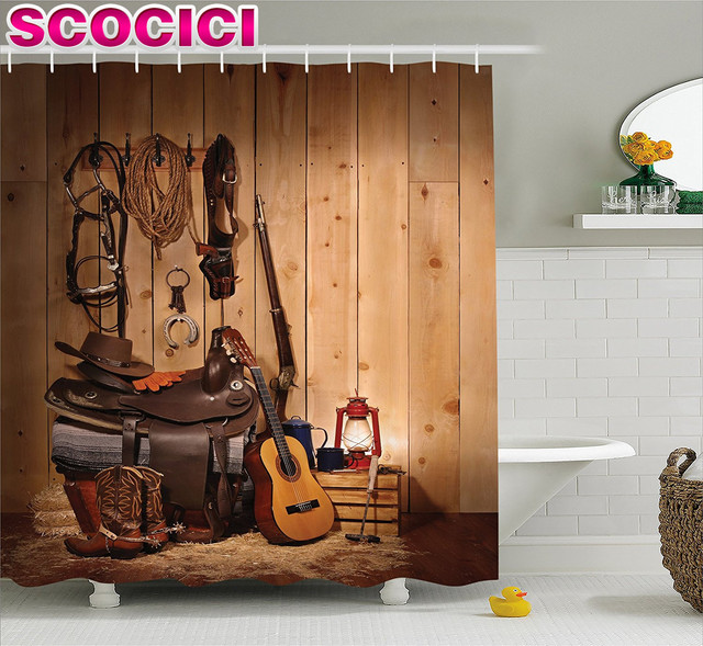 Western Decor Shower Curtain American Texas Style Country Music Guitar  Cowboy Boots Usa Folk Culture Fabric.