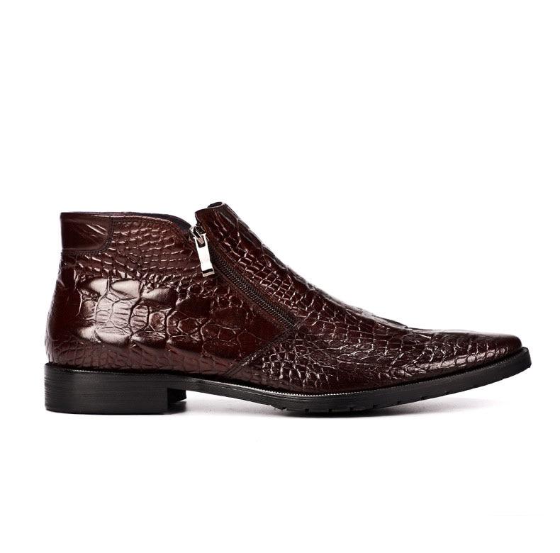 Alta Pontudo Homens Genuíno De Preto Botas Ankle Dos Qualidade marrom Padrão Luxo Qyfcioufu Vaca Do Couro Designer Sapato Crocodilo Boots ZWqPCn1