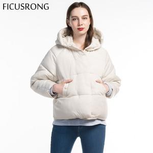 Image 2 - Fashion Solid Female Cotton Padded Autumn Jacket Parkas Women Hooded Winter Jacket Women Warm Thick Zipper Bread Coat FICUSRONG