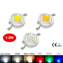 10Pcs 1W 3W High Power LED Bulb White/Warm White/Cold White/Red/Green/Blue Light Taiwan Epistar Chip For DIY Spotlight Downlight