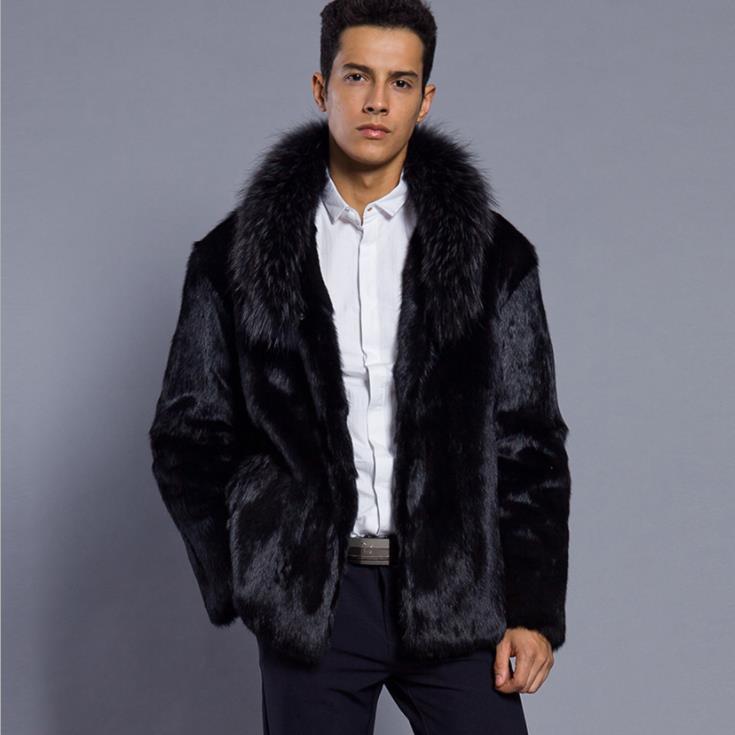 Autumn Faux Mink Leather Jacket Mens Winter Thicken Warm Fur Leather Coat Men Slim Jackets Jaqueta De Couro Fashion Black 6XL
