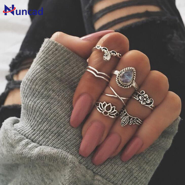 2017 New Midi Ring Sets Carving Finger Rings for Women Lotus Flower Knuckle Ring