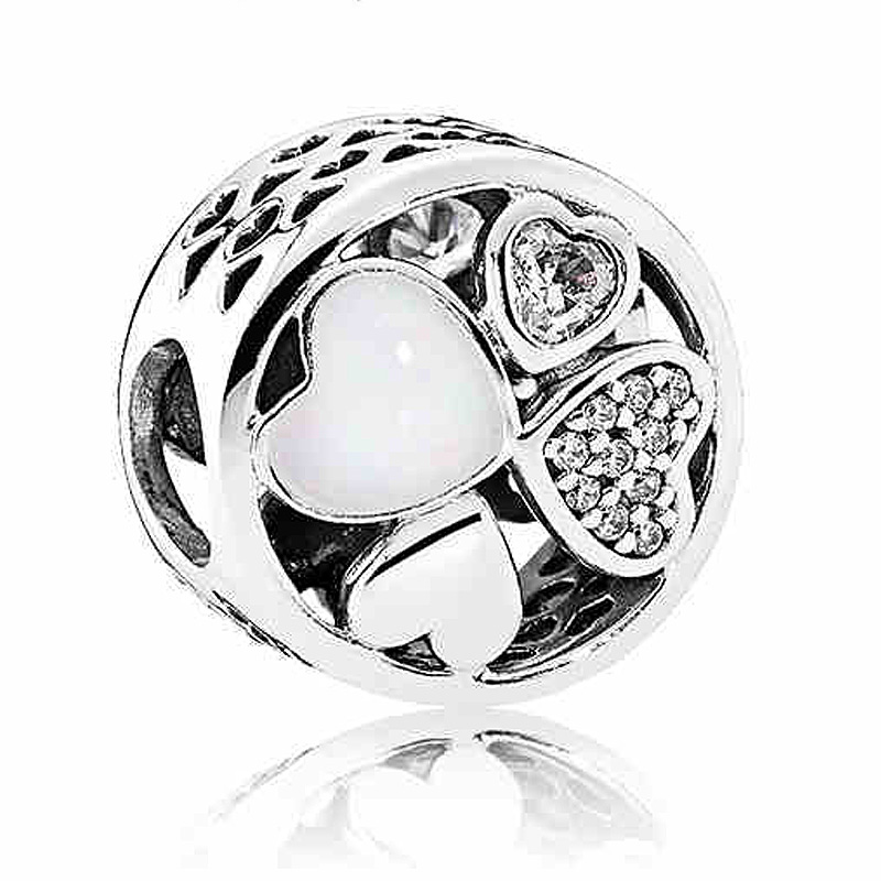 Authentic 925 Sterling Silver Charm Vintage Openwork Love Heart With Crystal Charms Fit Pandora Bracelet Bangle DIY JewelryAuthentic 925 Sterling Silver Charm Vintage Openwork Love Heart With Crystal Charms Fit Pandora Bracelet Bangle DIY Jewelry