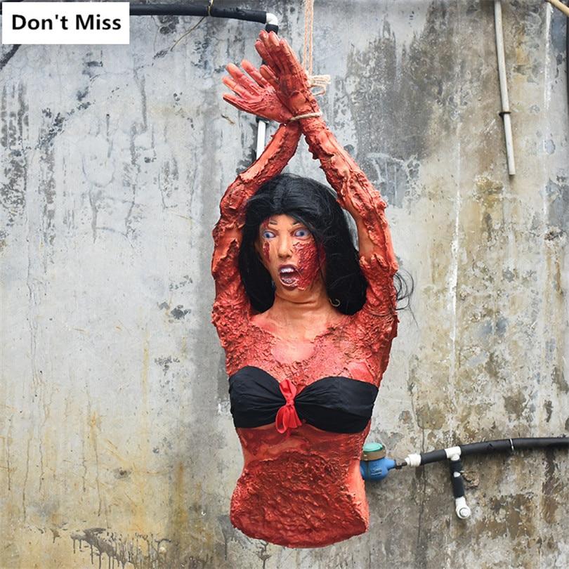 Halloween suspendu rouge cassé femmes ornements de cadavre réaliste Latex fantôme Festival salle hantée maison Bar décoration accessoires effrayants