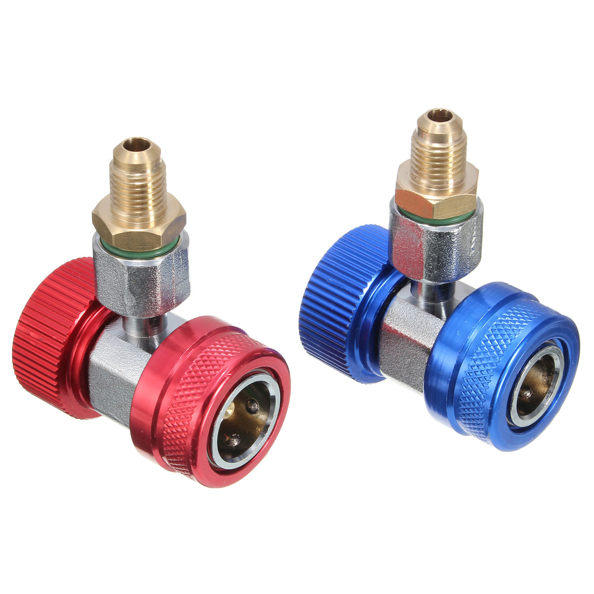 Car Adapter R134A Quick Coupler Low & High Brass Side AC Extractor Valve Core 1 pair r134a ac air condition adjustable quick coupler high low adapter connector
