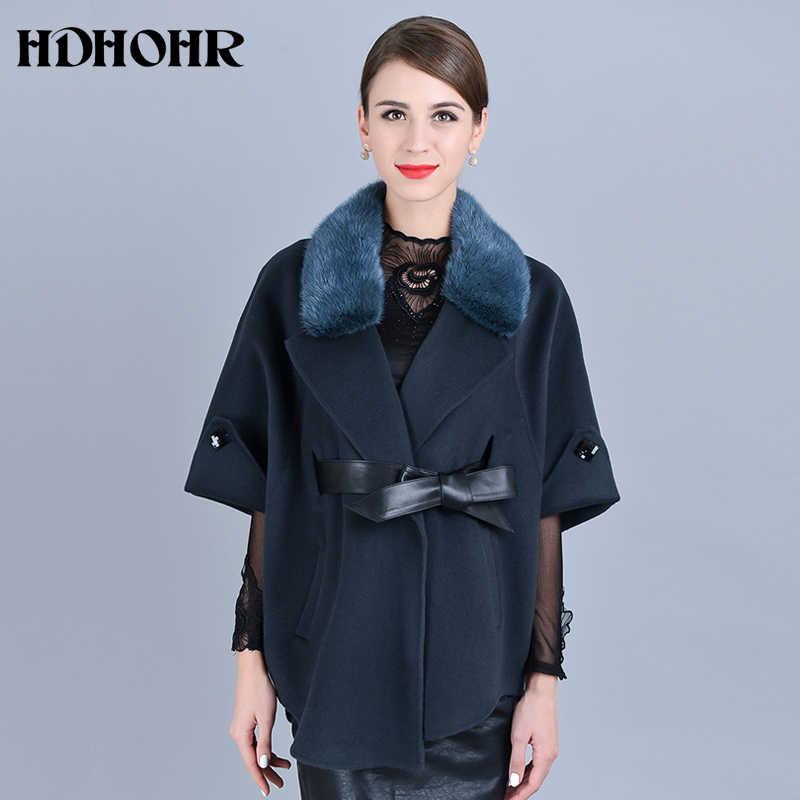 3d3841a23f91 HDHOHR 2018 Лидер продаж кашемировое пальто Для женщин зима воротник с  естественной реального норки Меховая куртка