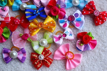 Dog hair flower pet dog hair bows pet Rhinestone Dog Accessories