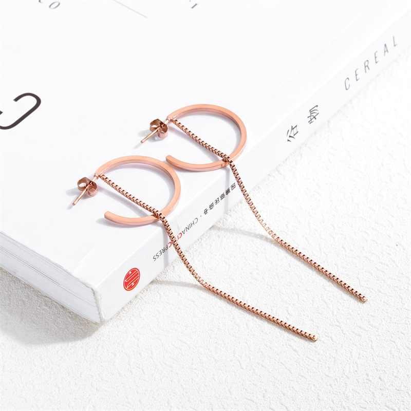 AZIZ BEKKAOUI Thép Không Gỉ Hoa Tai Tua cho Phụ Nữ Dài Tăng Vòng Tròn Vàng Drop Dangle Earrings Bông Tai Đồ Trang Sức Nữ Món Quà