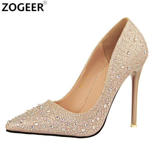 2017 г. новинка из весенней коллекции женские осенние туфли-лодочки пикантные черные сапоги цвета: золотистый, серебристый обувь на высоком каблуке Роскошные модные со стразами Свадебная вечеринка обувь