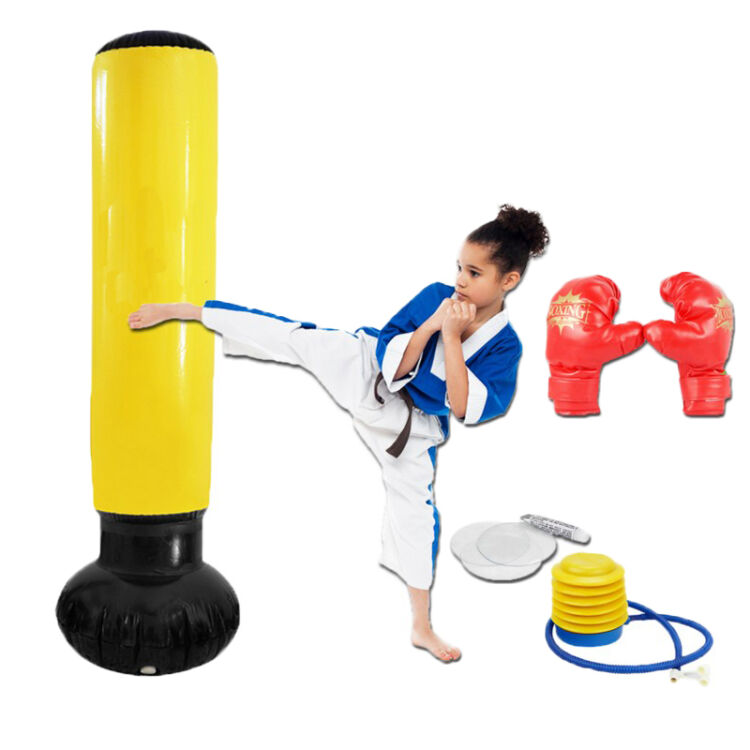 Inflatable Free-Standing tumbler Training/Punching Bag with Bounce-Back Base for children Soft leatherFolding for storage suotf adult fitness boxing pear sports punching bag martial arts supplies boxing speed ball punching bag excercise equipment