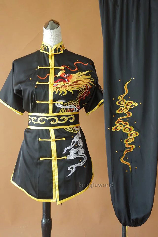 Satin Embroidery Tai chi Uniform Changquan Competition Clothes Martial arts Kung fu Wing Chun Suit black martial arts suit handmade linen tai chi uniform wushu kung fu wing chun uniform chinese style clothes meditation outwear