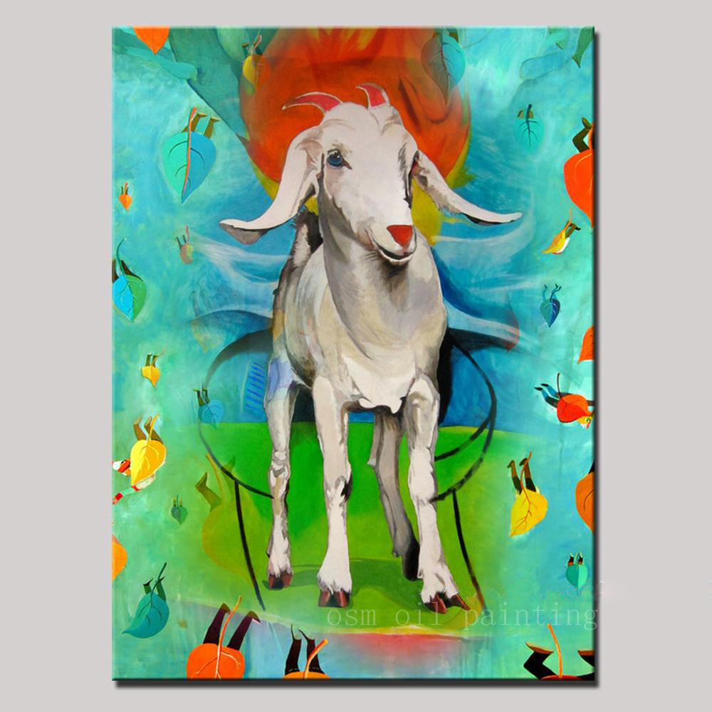 Christmas Gift Handpainted Cartoon Modern Sheep Oil Painting on Canvas Wall Painting Art Wall Picture for Living Room Home Decor