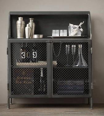 Iron Industry Sideboard American Vintage Wrought Wine Storage Cabinets Word Bar Cabinet Shelf Favorites
