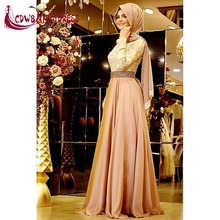Arabic Islamic Muslim Long Sleeves Evening Dresses With Hijab Gold Lace Top Beaded Waistband Chiffon Women Formal Party Dress