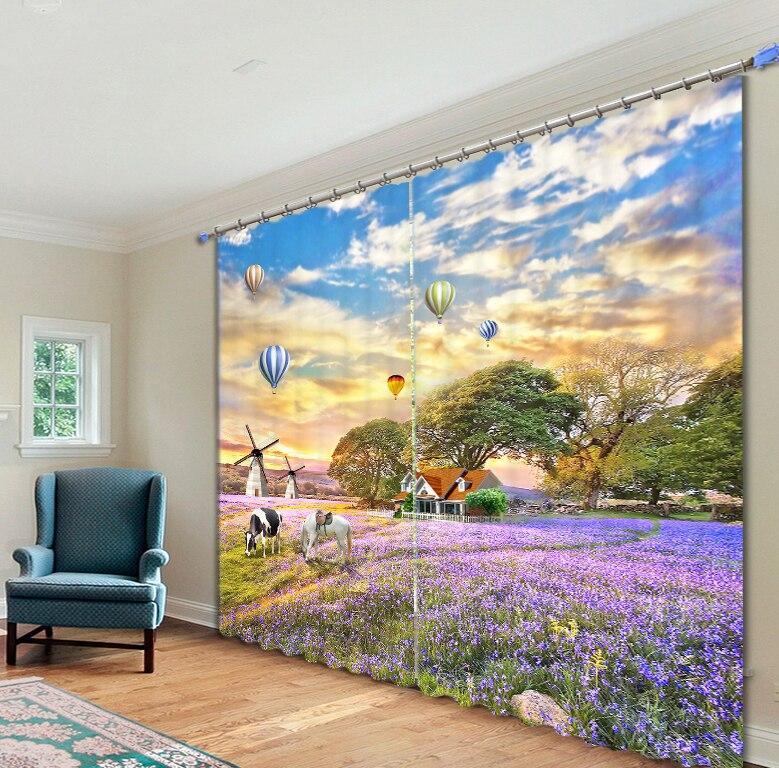 Beau champ de fleurs 3D impression Photo rideaux de fenêtre occultants pour salon literie chambre hôtel/bureau rideaux Cortinas para