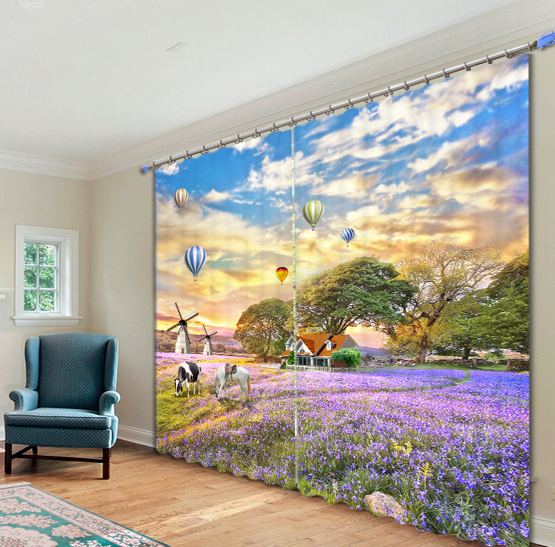 Beautiful flower field 3D Photo Printing Blackout Window Curtains For Living room Bedding room Hotel/Office Drapes Cortinas para