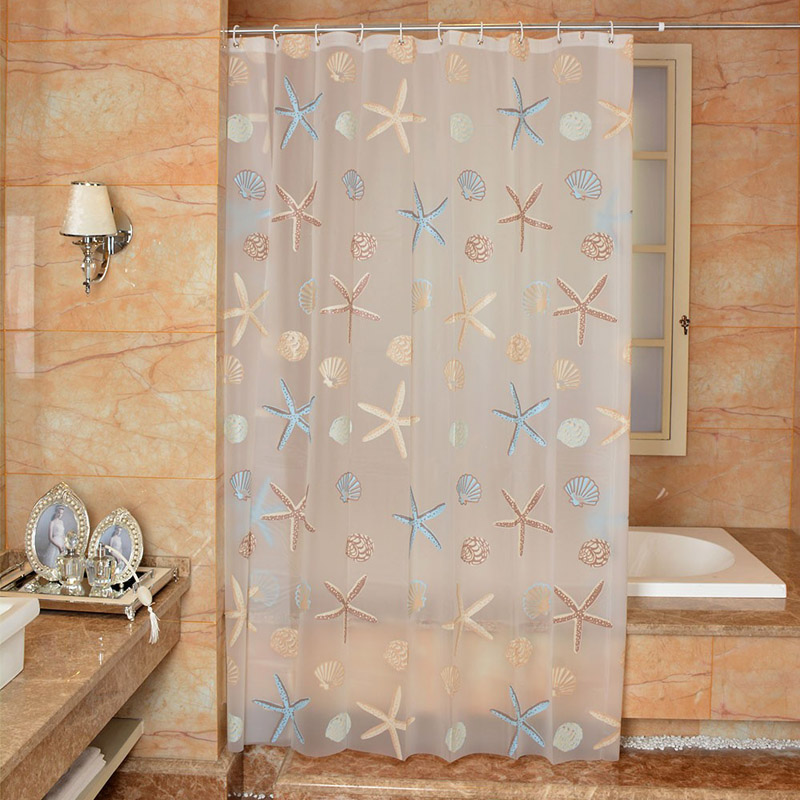 New Bathroom Shower Curtain Mediterranean PEVA Toilet Partition Waterproof Mouldproof Thickening