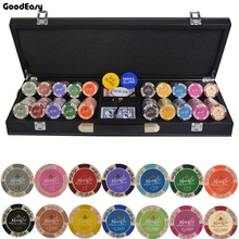 200,300,400,500PCS/Set New Casino Texas Hold'em Clay Double Color Chips With Trim Sticker Poker Chip Set with Leather Suitcase