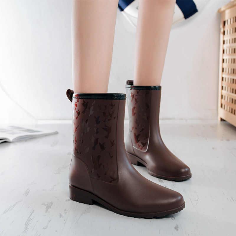 e2792da4e ... Модные непромокаемые сапоги, Женская непромокаемая обувь, резиновые  сапоги средней высоты, женские модные резиновые ...
