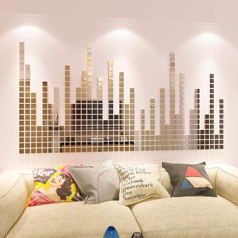 20pcs 3d Square Mirror Crystal Stereo Background Wall Sticker Anti-Mildew Landscaping Decoration Moisture-proof Decorative Film