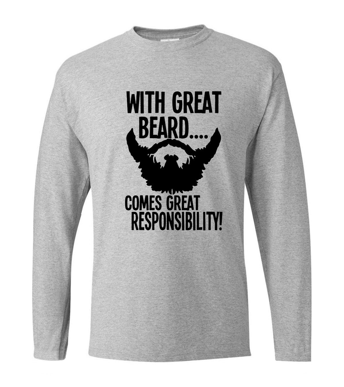 With Great Beard Comes Great Responsibility Men T Shirt 2019 new spring men's long sleeve T-shirts hip hop fitness man top tees