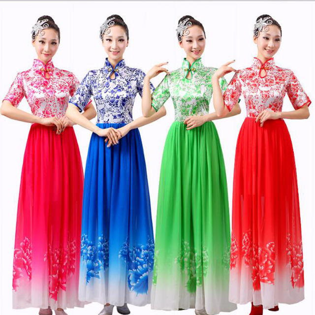 Traditional Chinese Costume female full dress guzheng costume chinese folk  dance costume Women s performance dancing costumes 3de0430f5