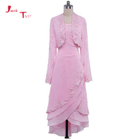 Jark Tozr Custom Made Long Sleeve Tiered Skirt Appliques Pearls Pink Chiffon Formal Evening Dresses With Shawl 2018 Abendkleider