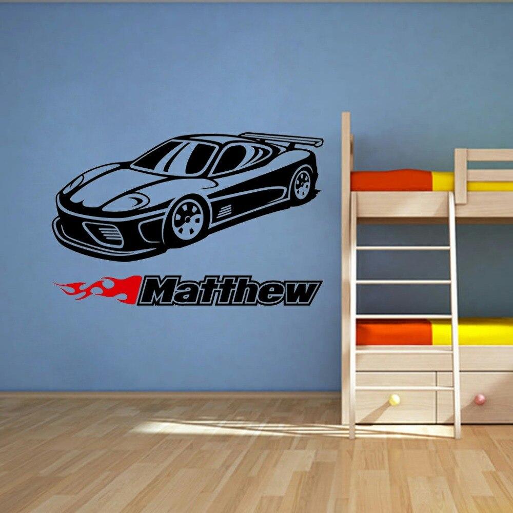 Car sticker design name - Custom Name Car Classic Wheels Sport Racecar Wall Room Name Vinyl Wall Decal Sticker Home Decoration