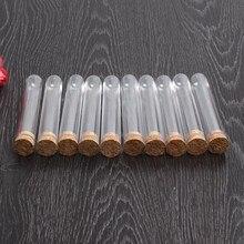 Nova marca 50 pçs/lote 18x100mm Tubo de Ensaio Com Rolha de Plástico Transparente de Fundo Redondo De Laboratório de Ensino Da Escola suprimentos