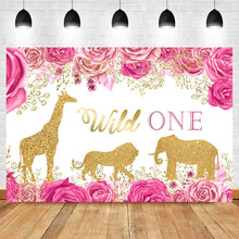 NeoBack Wild One Birthday Backdrop Pink Flower Golden Lion Background Animal Giraffe Banner Party Photography