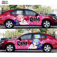 Tailor Made Japanese Anime Characters RAM REM Car Door Stickers Different World Funny Racing Car Decal