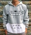 2017 spring Totoro hooded cartoon printed Long Sleeve Grey Half-moon Shapes Pattern Sporting Wear Anime Sweatshirts