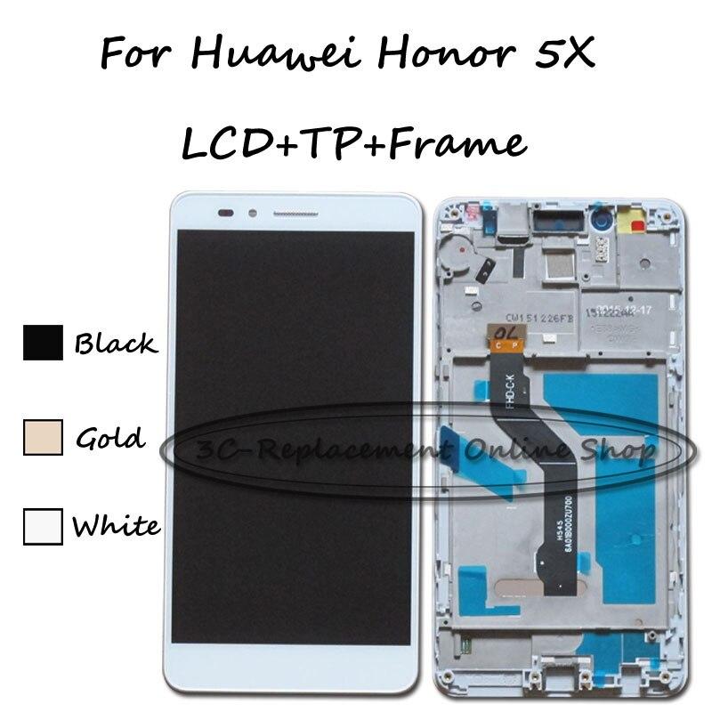 imágenes para Para huawei honor 5x kiw-l22 kiw-l23 kiw-l24 kiw-tl00 kiw-tl00h kiw-cl00 kiw-ul00 lcd display + touch screen digitizer + frame