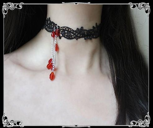red beads water drop crystal vampire necklace vintage gothic chokers necklaces fashion women jewelry black lace free shipping