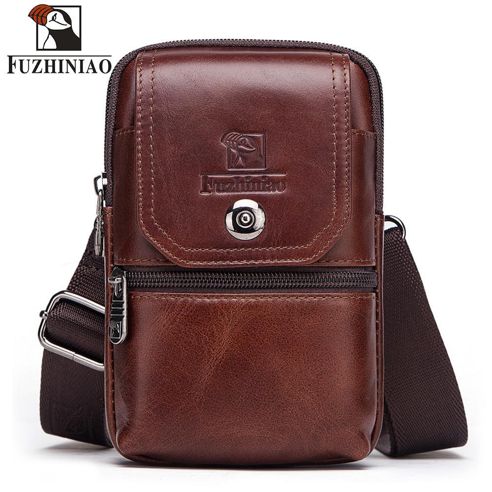FUZHINIAO Leather Waist Packs Fanny Pack Belt Bag Men Chest Phone Pouch Bags Small Crossbody Travel Bag For Men's Belt Ring