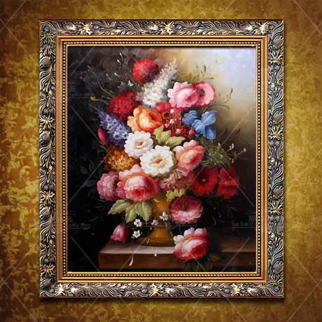 Traditional Old Light Rose Flowers Oil Painting Color Handmade Work Modern Wall Art Oil Painting On Canvas Living Room Wall art