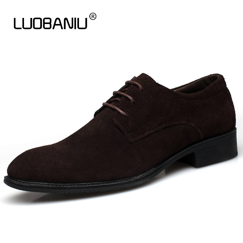 LUOBANIU Brand 2017 Suede Cow Leather Big Size38-45 Black Brown 5 Colors Casual Shoes Lace-up Breathable Russian Men Shoes 8168 men shoes casual brand breathable leather shoes summer black brown fashion handmade genuine leather sandals big size 38 45