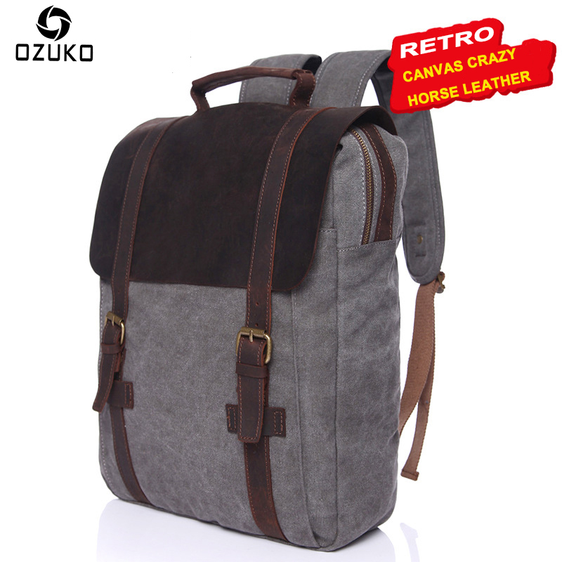OZUKO Leather Canvas Backpacks Vintage Fashion School Bags for Teenagers Men Women Laptop Backpack Male Travel Rucksack Mochila high quality british style vintage canvas backpack rucksack school bags for teenagers travel bag backpacks for laptop