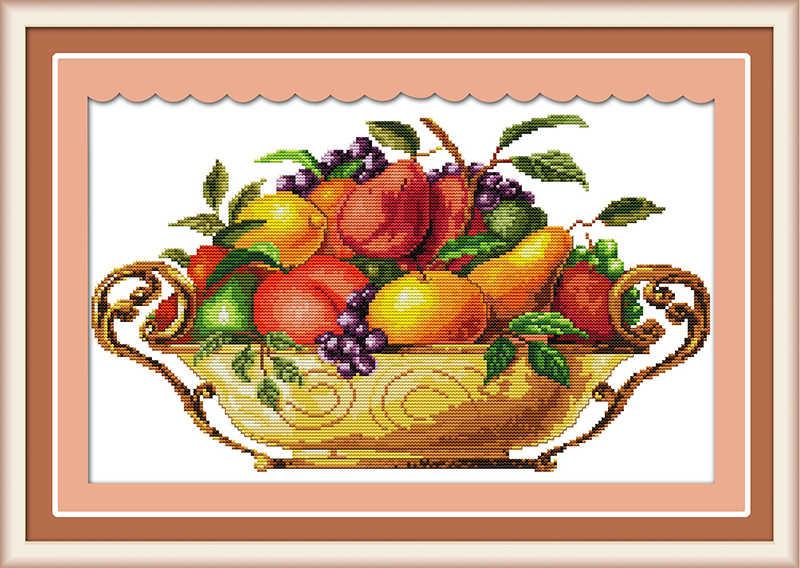 Фруктовое блюдо крестиком Набор яблоко напечатано на холсте ткань DMC цвет 18 14ct 11ct вышивка ручной работы вышивка рукоделие поставки