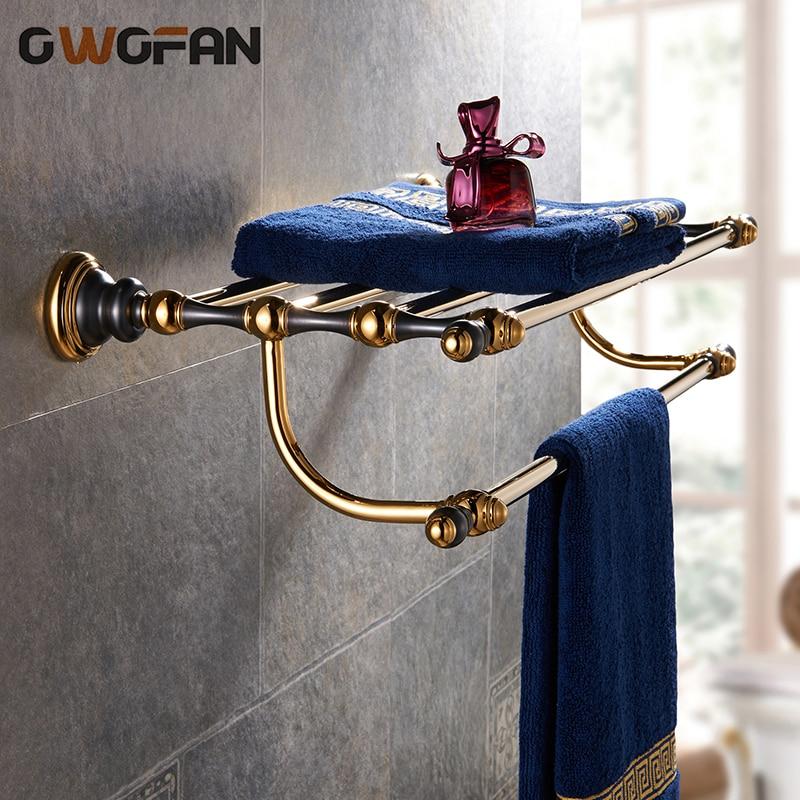 Towel Racks Luxury Towel Shelf Golden Brass Holder Bath Towel Shelves Wall Mounted 2-Tier Towel Bar Bathroom Accessories 66808
